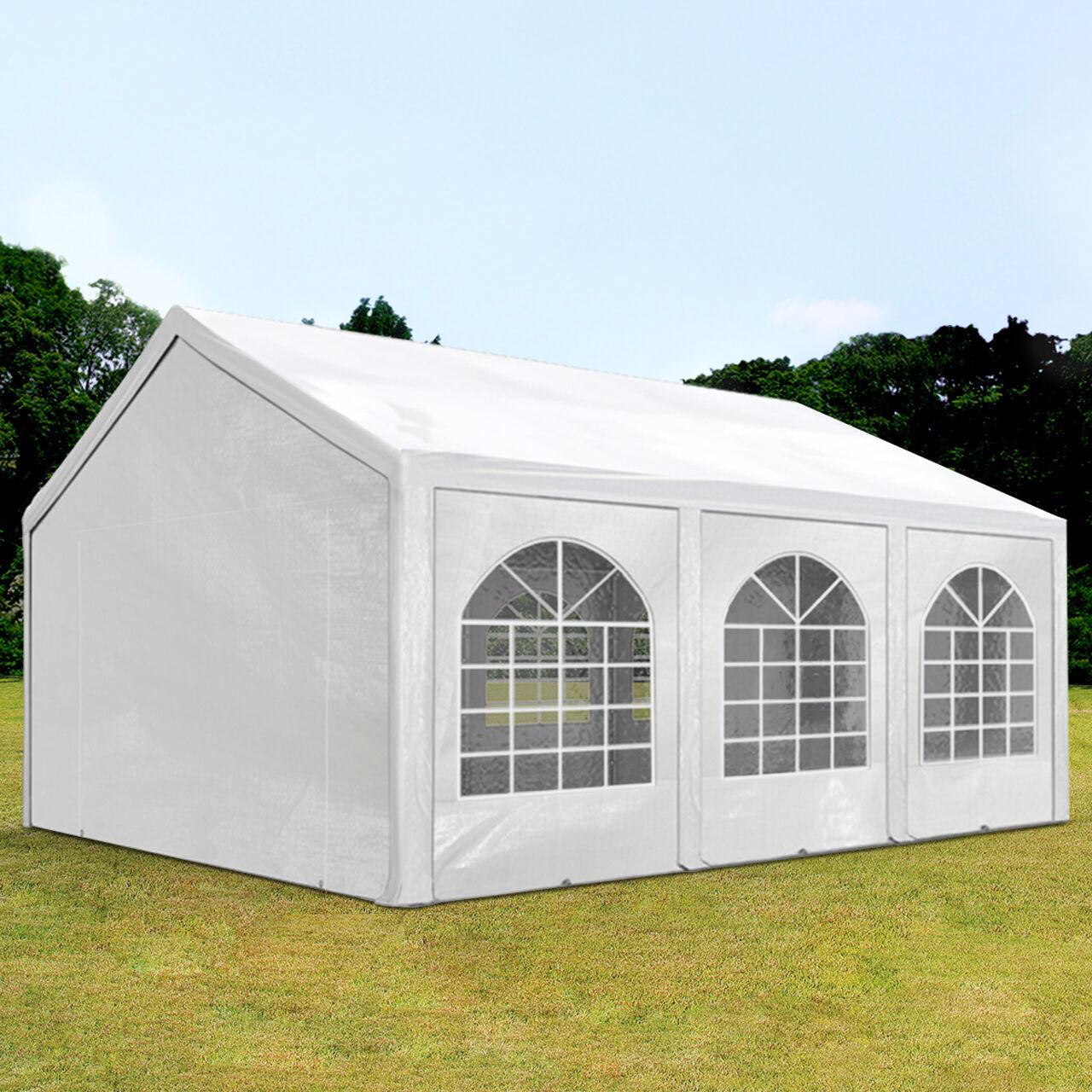 Intent24.fr Tente de réception 3x6m PE 240g/m² blanc imperméable barnum, chapiteau