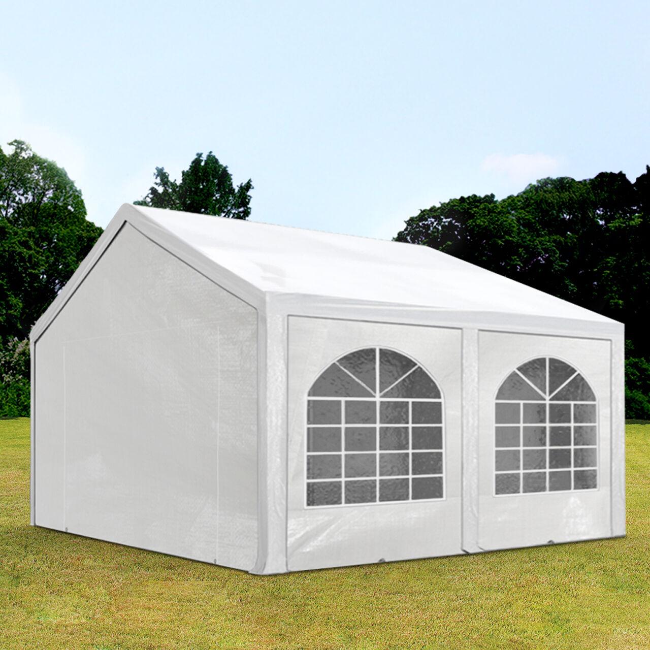 Intent24.fr Tente de réception 4x5m PE 240g/m² blanc imperméable barnum, chapiteau