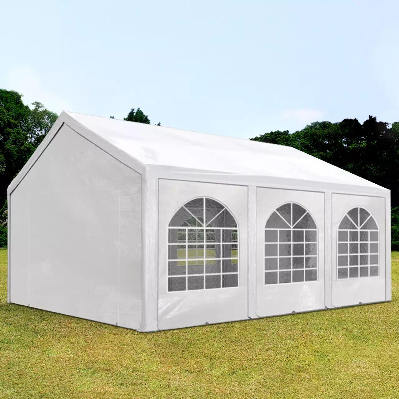 Intent24.fr Tente de réception 4x6m PE 240g/m² blanc imperméable barnum, chapiteau
