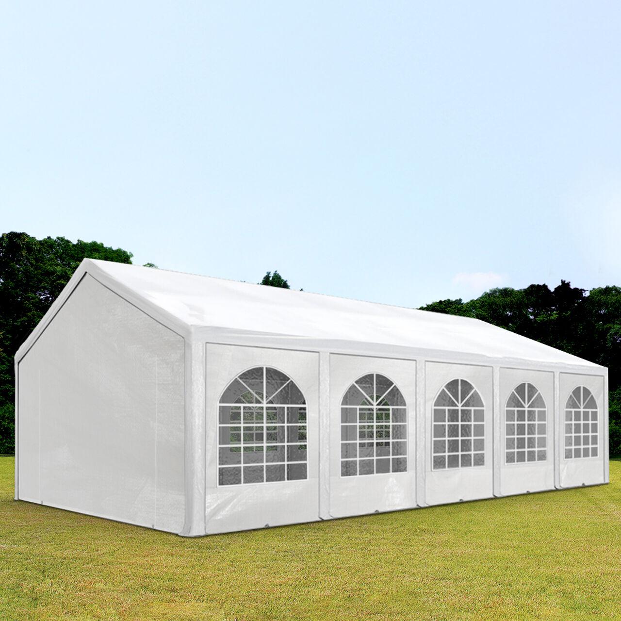 Intent24.fr Tente de réception 4x10m PE 240g/m² blanc imperméable barnum, chapiteau