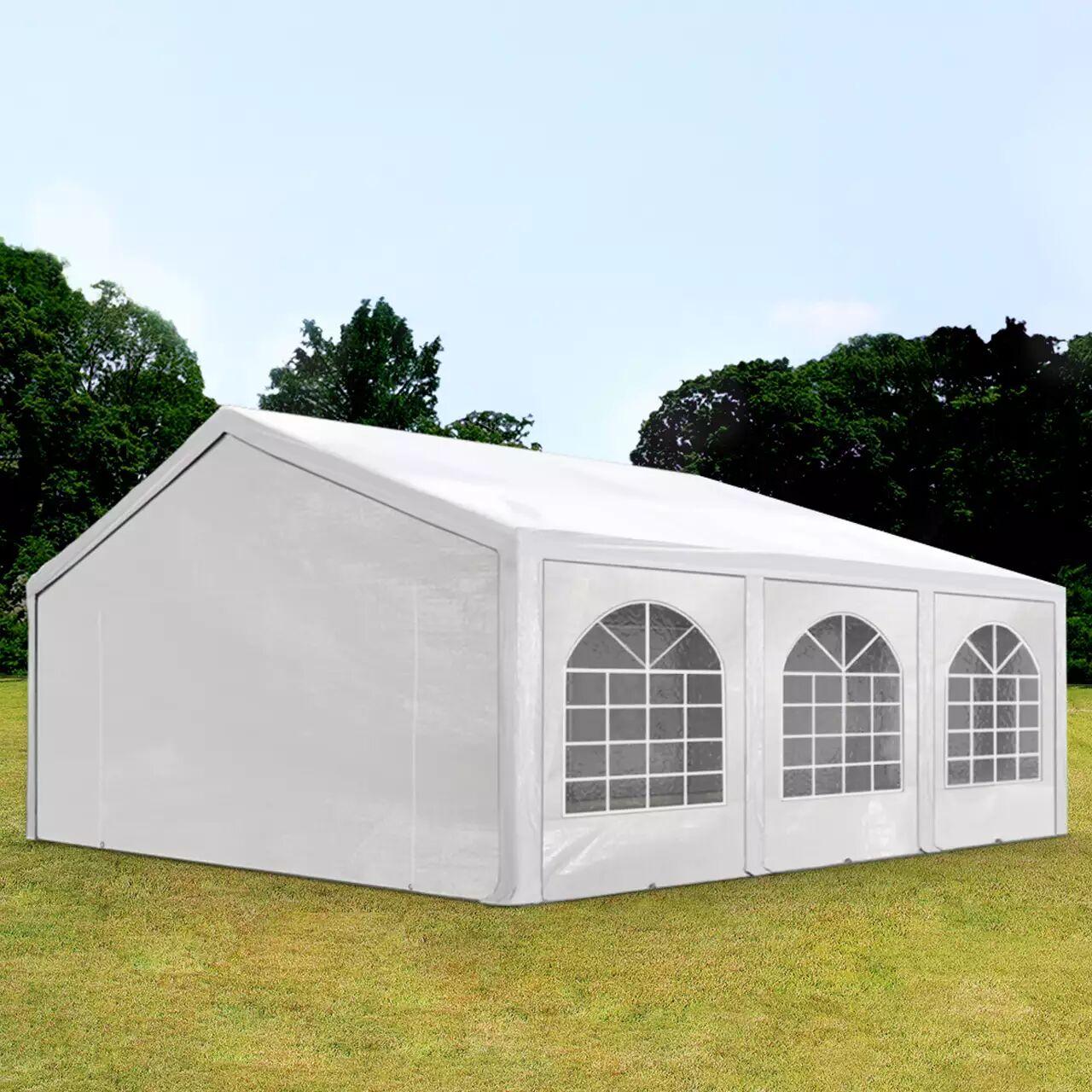 Intent24.fr Tente de réception 5x6m PE 240g/m² blanc imperméable barnum, chapiteau
