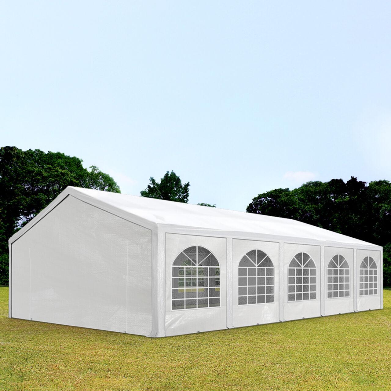 Intent24.fr Tente de réception 5x10m PE 240g/m² blanc imperméable barnum, chapiteau