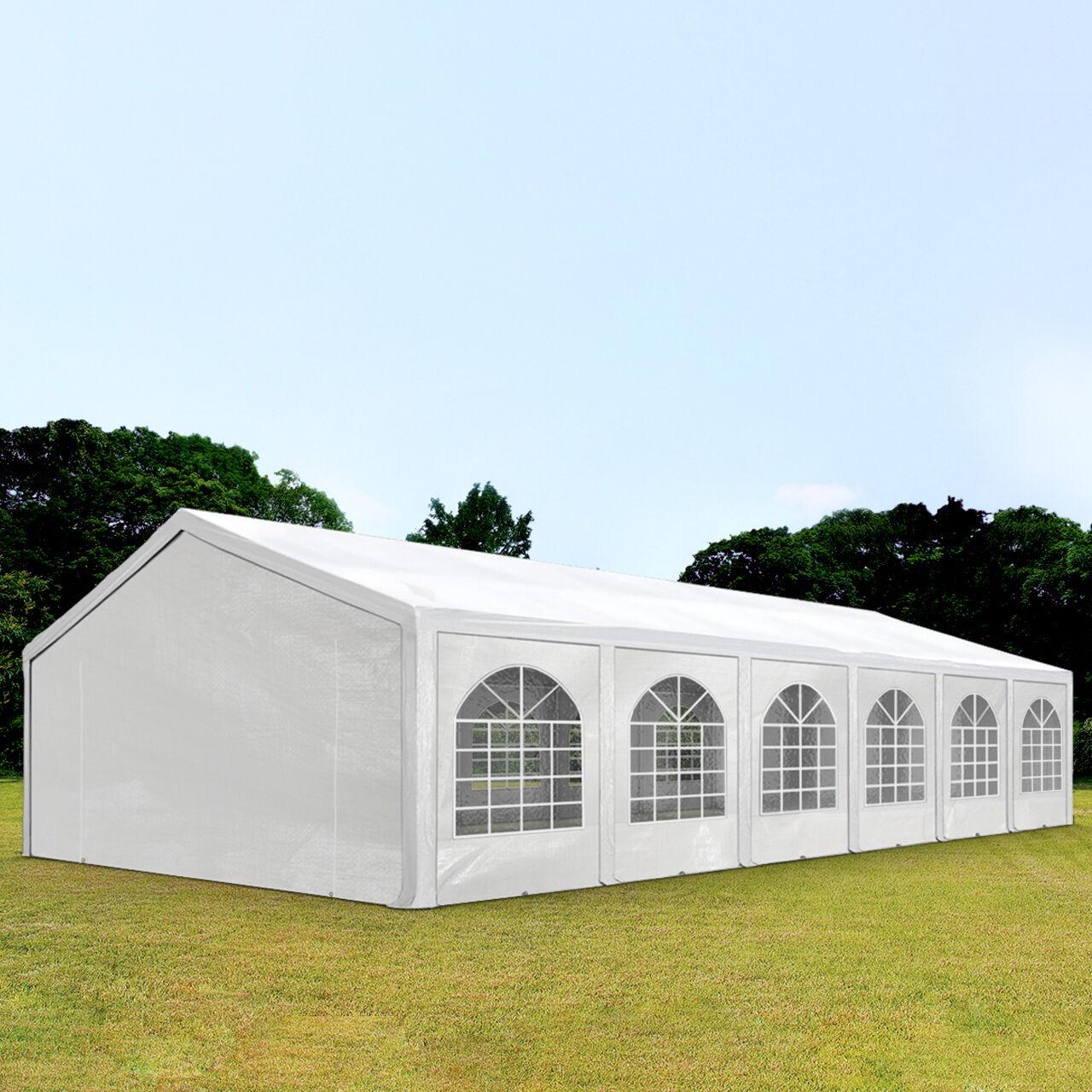 Intent24.fr Tente de réception 5x12m PE 240g/m² blanc imperméable barnum, chapiteau