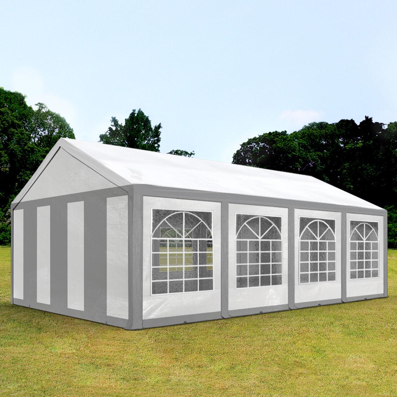 Intent24.fr Tente de réception 4x8m PE 240g/m² gris imperméable barnum, chapiteau