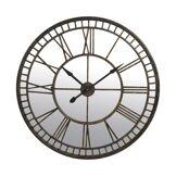 Horloge ronde miroir chiffres romains en fer forgé 107cm - coloris brun