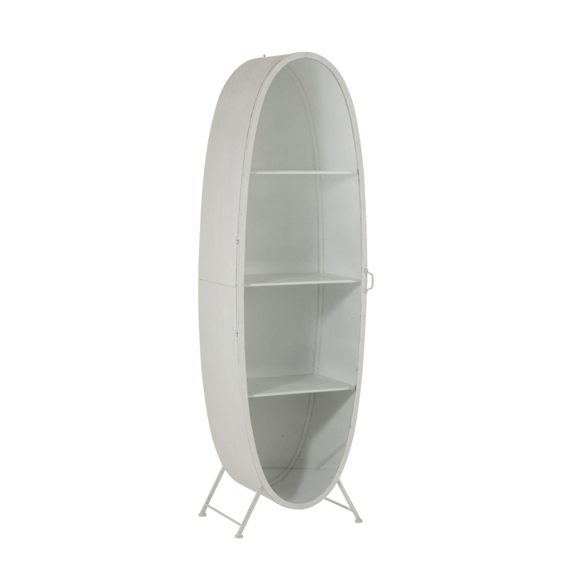 Etagère ovale 3 niveaux en métal et verre blanc