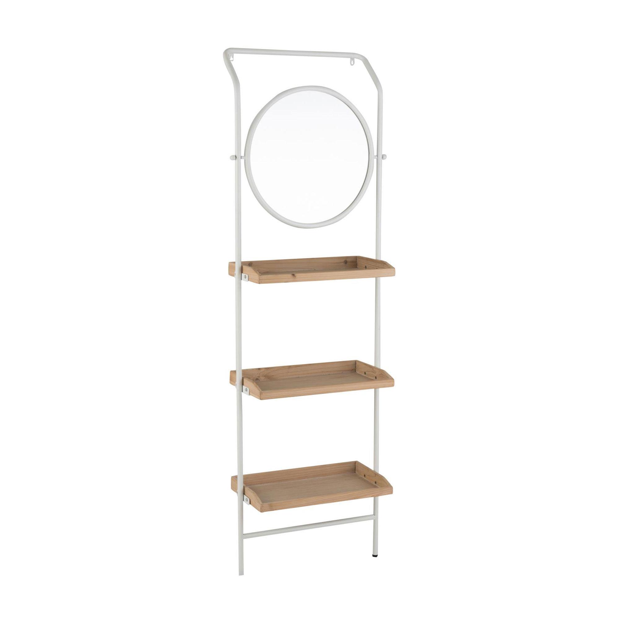 Etagère avec miroir 61x37,5x191 cm en bois et métal blanc