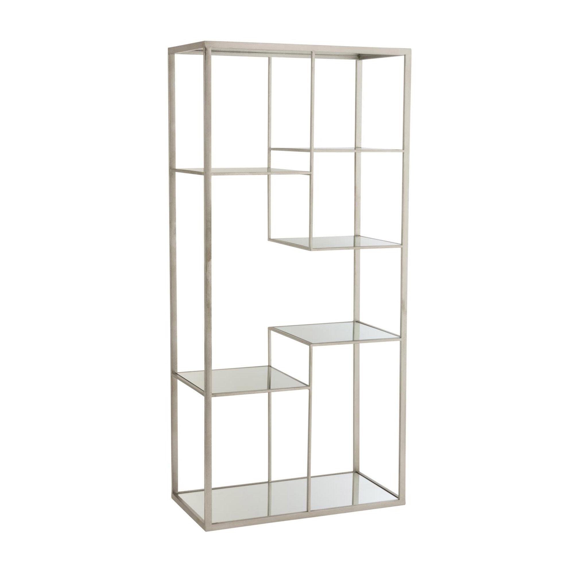 Etagère design 82x42,5x177 cm en verre et métal argenté