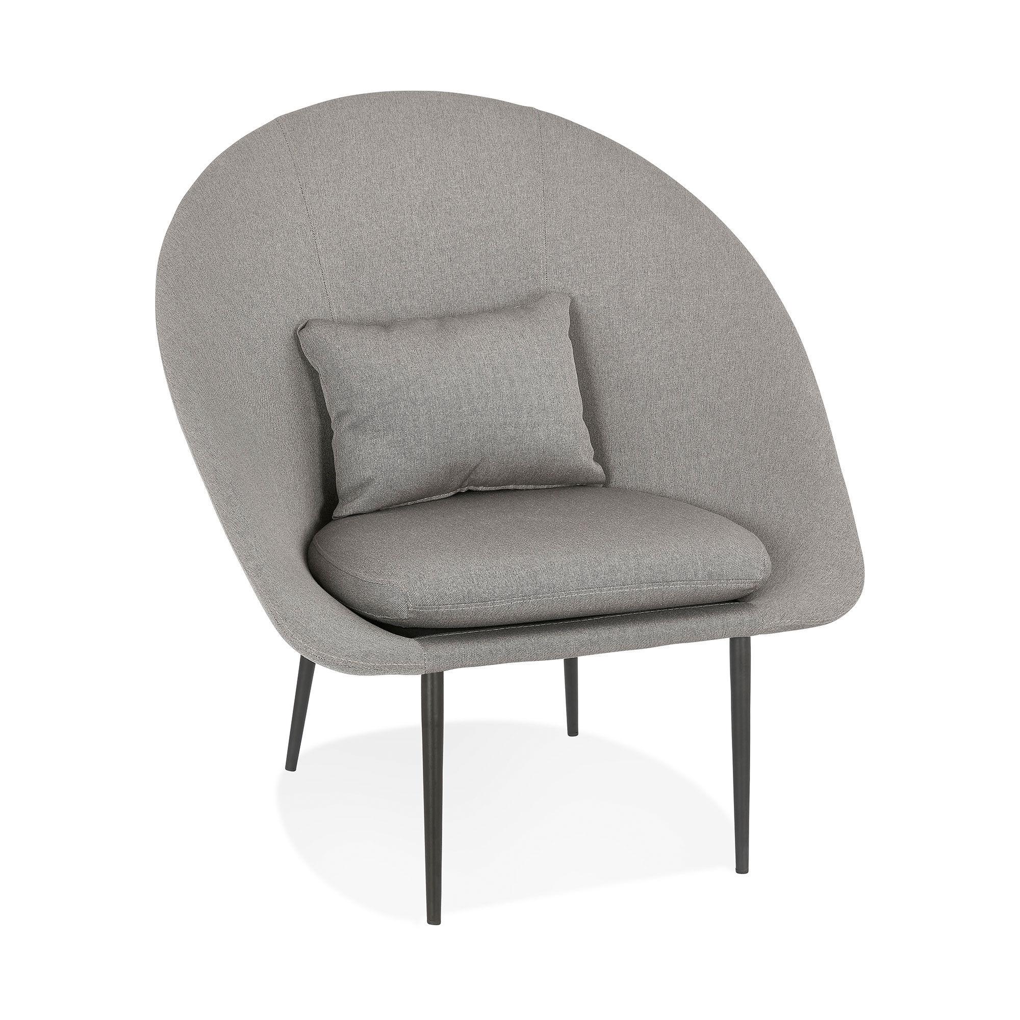 Fauteuil 83x71x88 cm en tissu gris et pieds métal