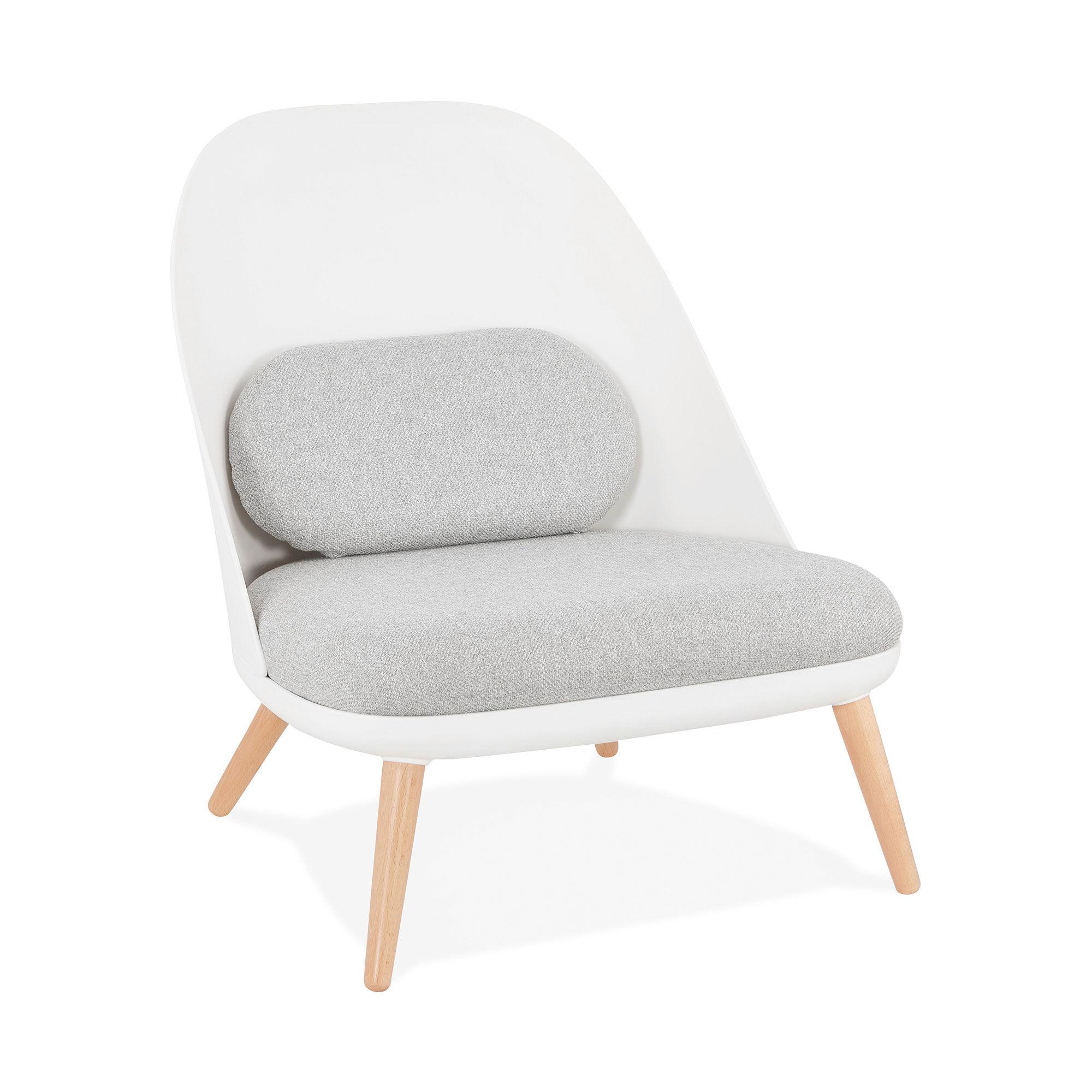 Fauteuil 74x66x76 cm blanc avec coussin gris