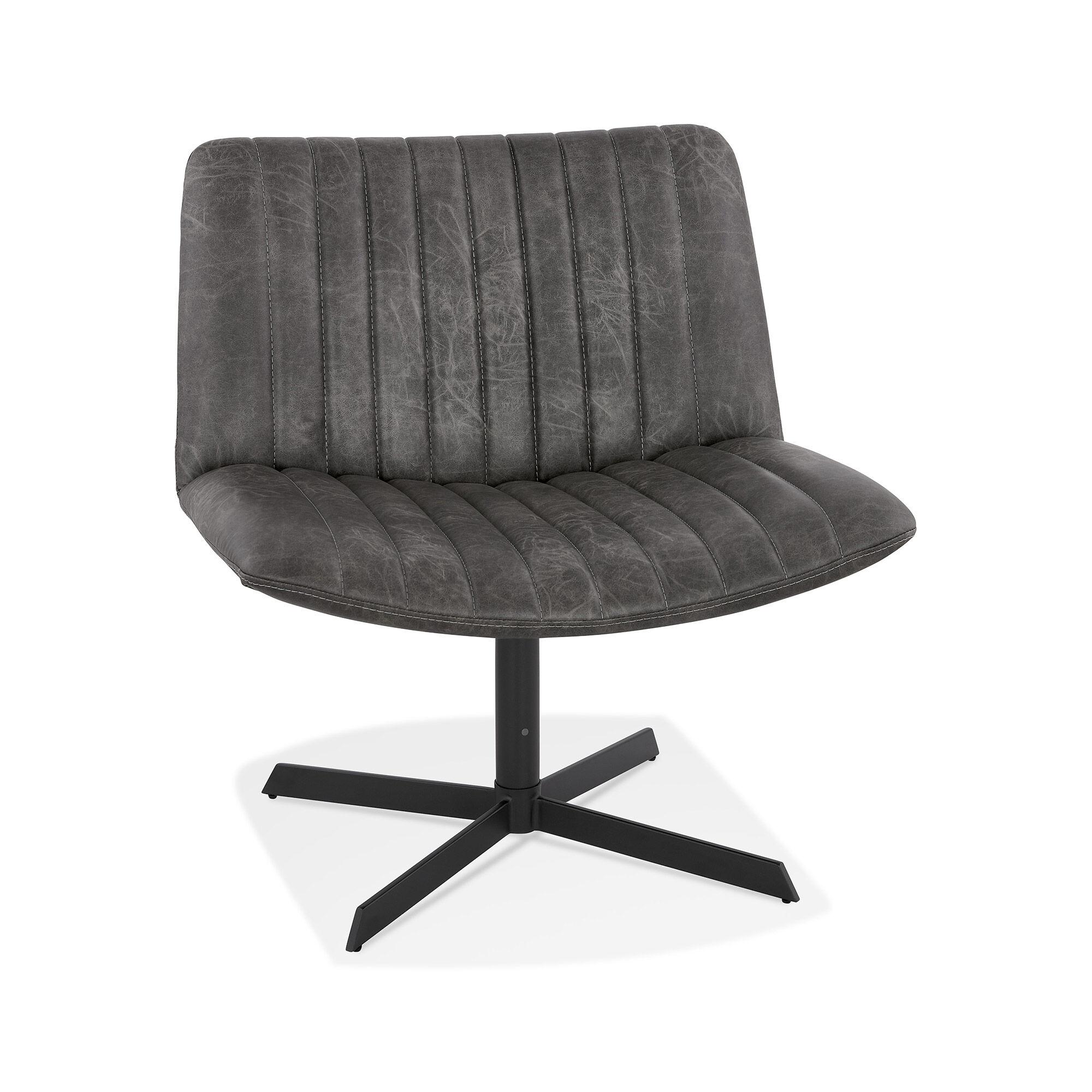 Chaise design 71,5x66x77 cm en PU gris foncé et métal