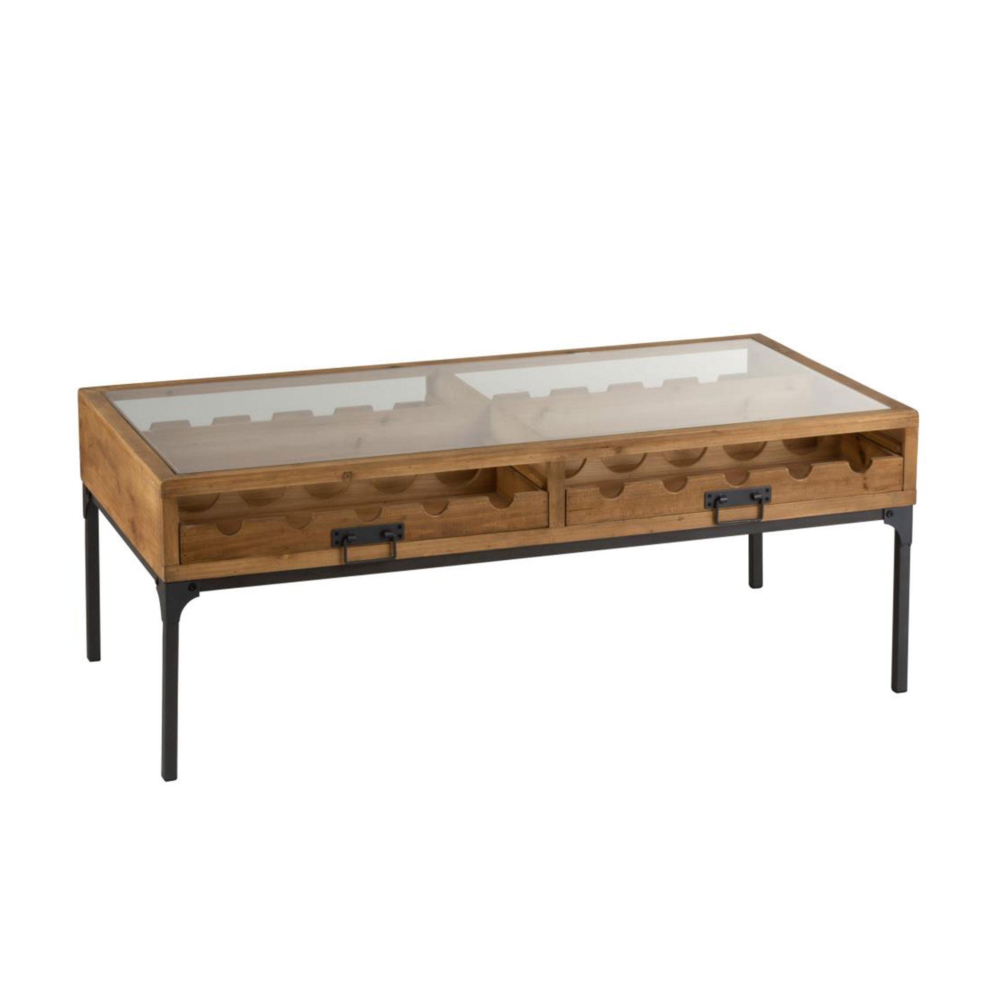 Table basse range bouteilles 120x60x45 cm en bois et métal - FREESIA