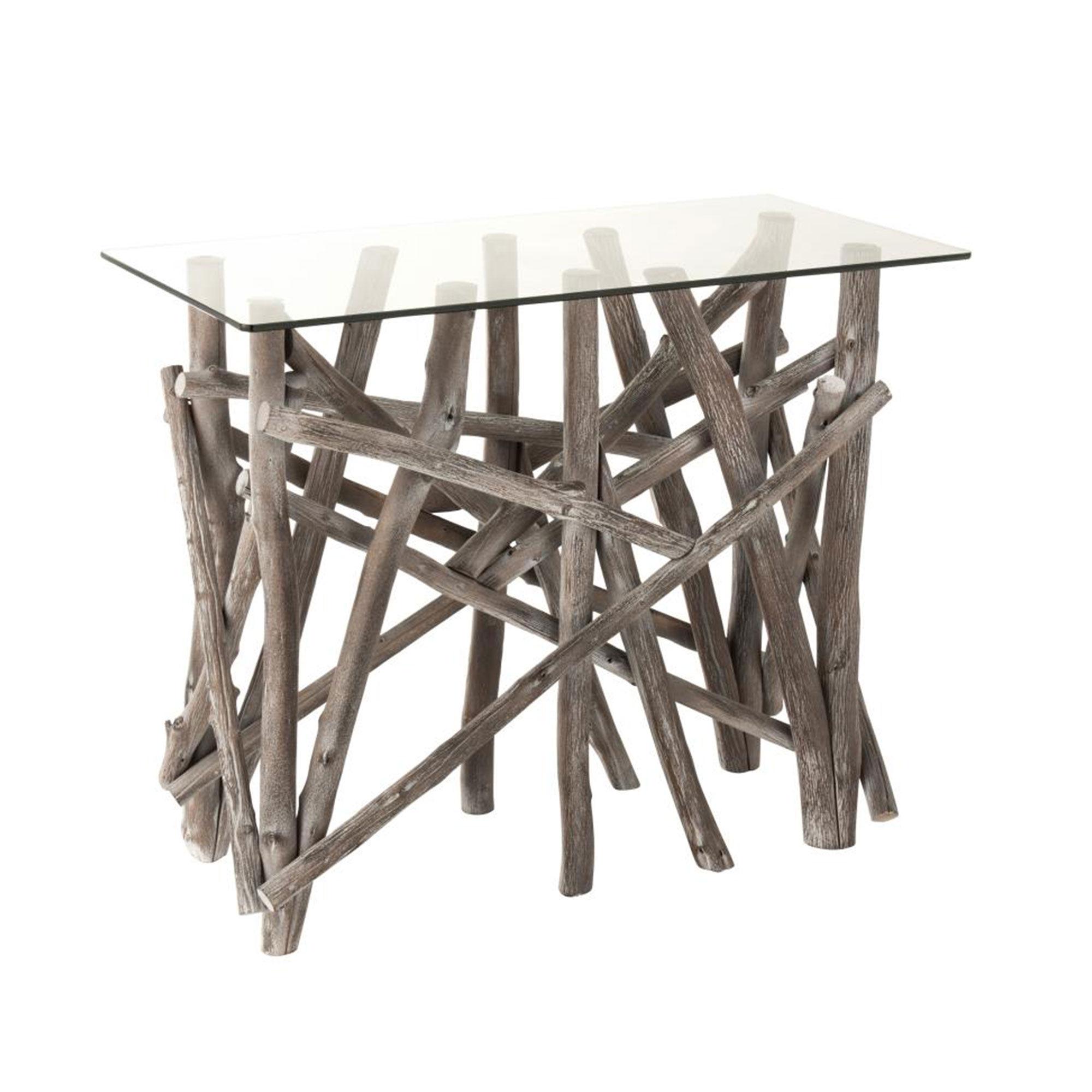 Console 96x47x77 cm en verre et bois naturel grisé - NATTY