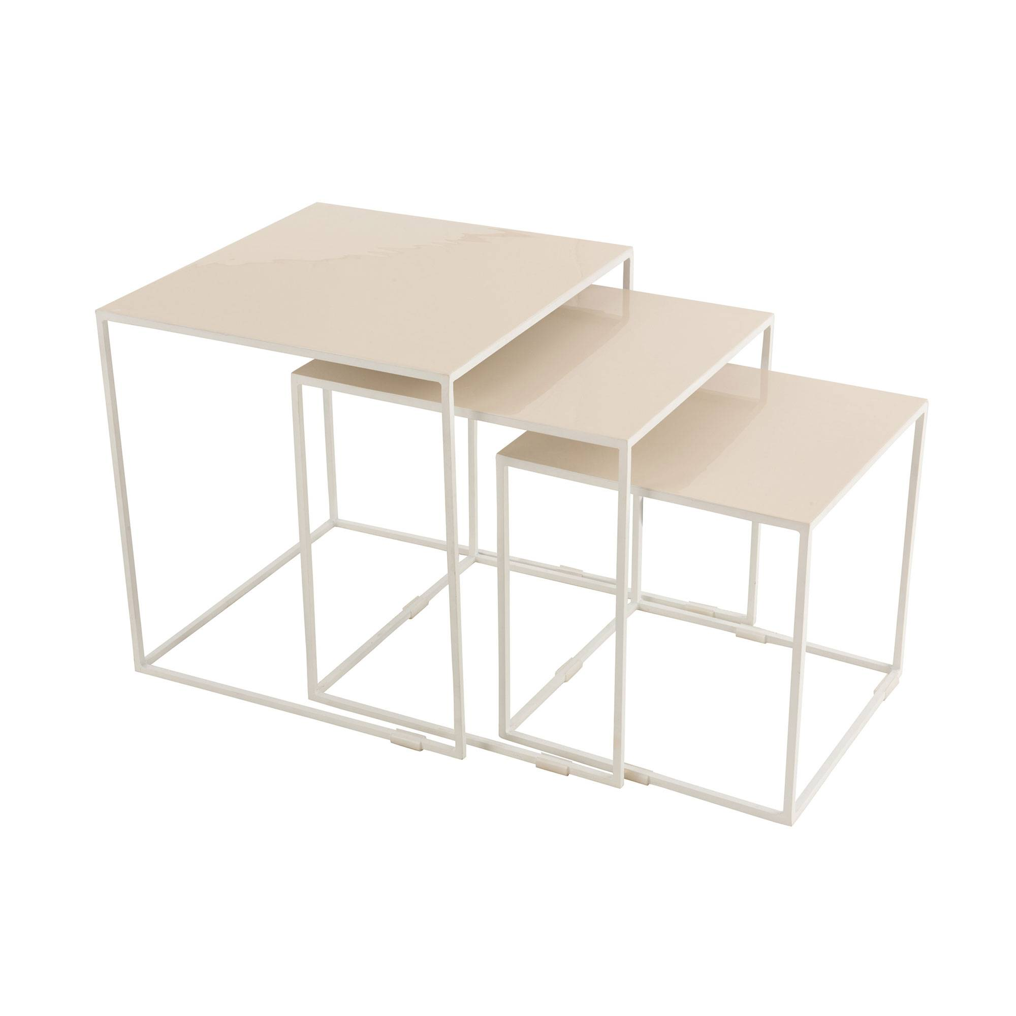 Lot de 3 tables gigognes 45, 40 et 35 cm en métal laqué beige