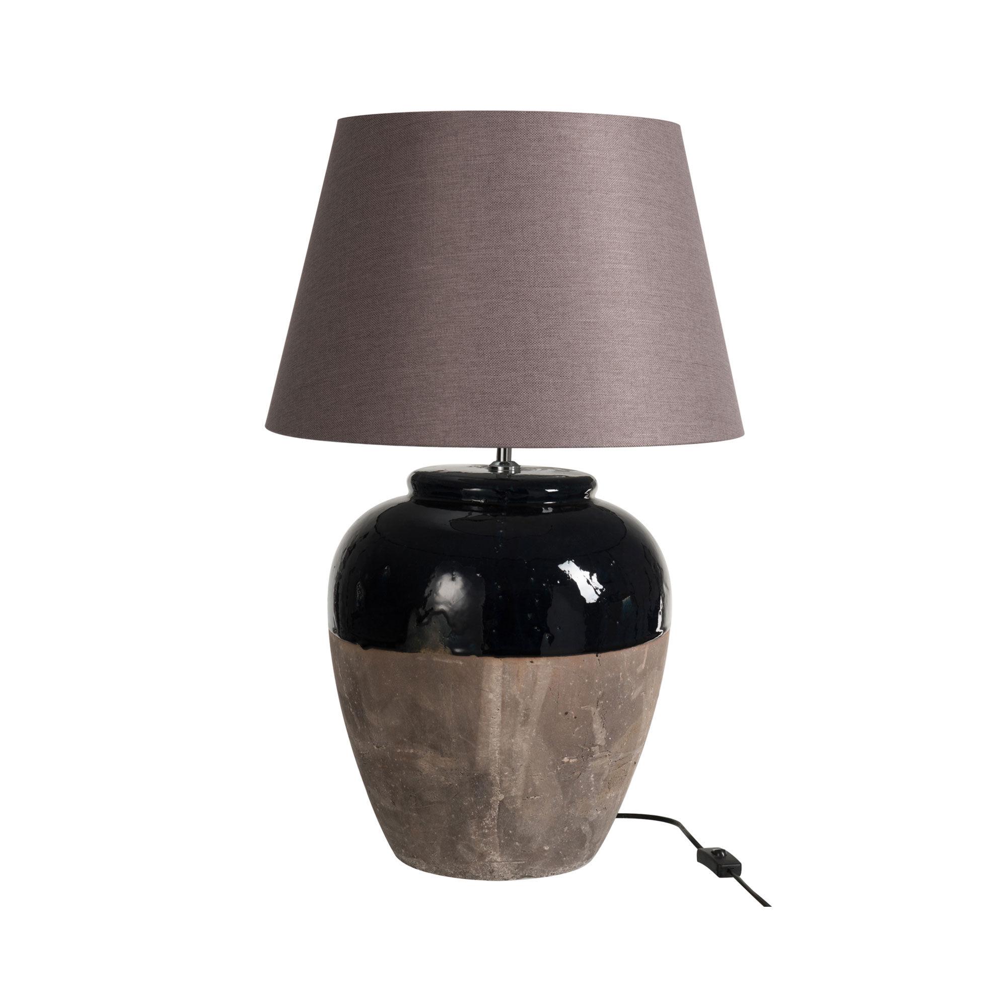 Lampe à poser en argile marron H48 cm