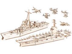 Infactory 7 maquettes 3D en bois : porte-avions, navire de guerre et aéronefs