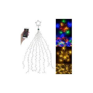 Lunartec Guirlande lumineuse effet cascade pour sapin de Noël, 320 LED, avec bluetooth & application - Publicité