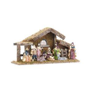 Britesta Crèche de Noël en bois avec figurines en porcelaine peintes à la main - Grande