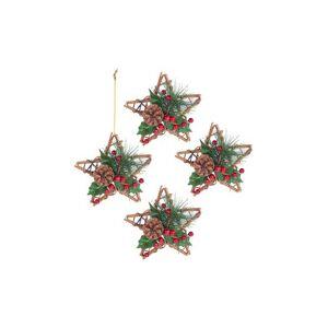 Britesta 4 étoiles décoratives Ø 15 cm en rotin et véritable pommes de pin
