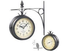 St. Leonhard Horloge de gare rétro double face avec thermomètre et 12 chants d'oiseaux