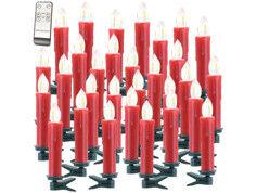 Lunartec 30 bougies LED sans fil avec télécommande XMS-35.r - Rouge