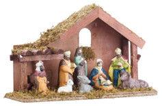 Britesta Crèche de Noël en bois avec figurines en porcelaine peintes à la main
