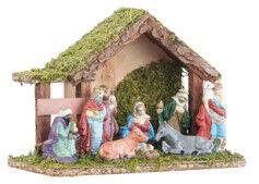 Britesta Crèche de Noël en bois avec figurines en porcelaine peintes à la main - Petite