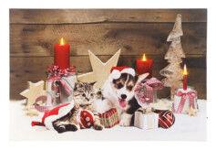 Infactory Tableau de Noël à 3LED avec des bébés animaux 60 x 40 cm