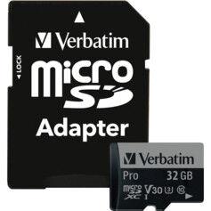 Verbatim Carte Micro SDHC Verbatim Pro Class 10 avec adaptateur SD - 32 Go