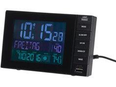 Infactory Réveil digital radio-piloté avec thermomètre et port USB 2A