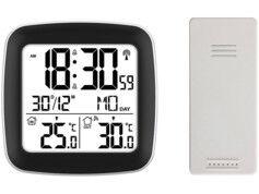 Infactory Réveil radio-piloté à double alarme et thermomètre extérieur