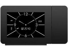 Infactory Réveil à projection radio-piloté avec double réveil et thermo-hygromètre