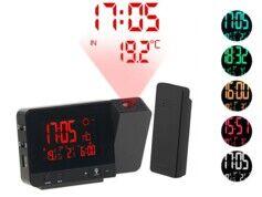 Infactory Réveil à projection et station météo sans fil 2 en 1 - Noir