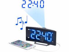 Auvisio Radio-réveil à projection avec affichage bleu et port de chargement USB