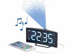 Auvisio Radio-réveil à projection avec affichage blanc et port de chargement USB