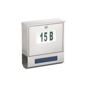 Lunartec Boîte aux lettres solaire avec numéro lumineux et compartiment à journaux