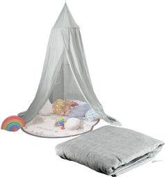 Infactory Ciel de lit pliable pour enfants gris foncé