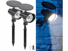 Royal Gardineer 2 spots solaires à LED avec détecteur de mouvement et témoin rouge clignotant
