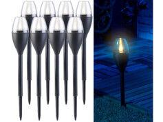 Lunartec 8 torches de jardin solaires à LED aspect flamme