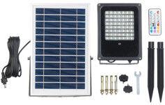 Luminea Projecteur extérieur solaire à LED RVBB 30W, avec télécommande