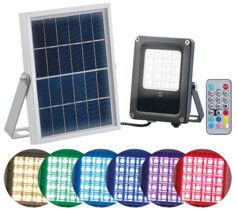Luminea Projecteur extérieur solaire à LED RVBB 10W, avec télécommande