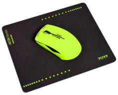 Port Souris optique sans fil Neon avec tapis - Vert