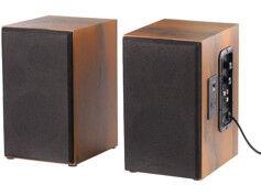 Auvisio Enceintes stéréo bluetooth actives 80 W design bois MSS-90.usb
