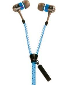 Auvisio Ecouteurs sur fermeture à glissière ''LE-400.Zip'' - Bleu