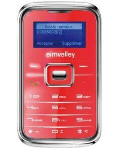 SimValley Mobile Téléphone miniature ''Pico Inox RX-180'' rouge
