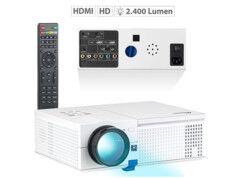 SceneLights Projecteur vidéo LCD-LED HD 2400 lm avec lecteur média intégré LB-9200