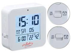 Infactory Réveil radio-piloté avec fonctions thermomètre et hygromètre - Blanc
