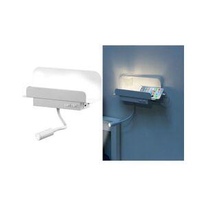 Carlo Milano Étagère murale avec lampe de lecture et port de chargement USB - Blanc - Publicité