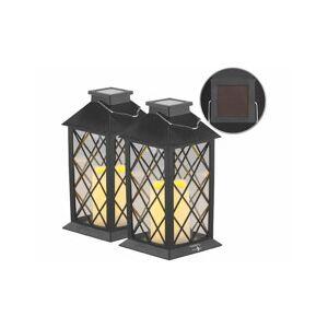 Lunartec 2 lanternes solaires avec bougie LED effet flamme - Capteur d'obscurité - Publicité