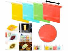 Rosenstein & Söhne 4 sachets alimentaires refermables en silicone,1000 ml